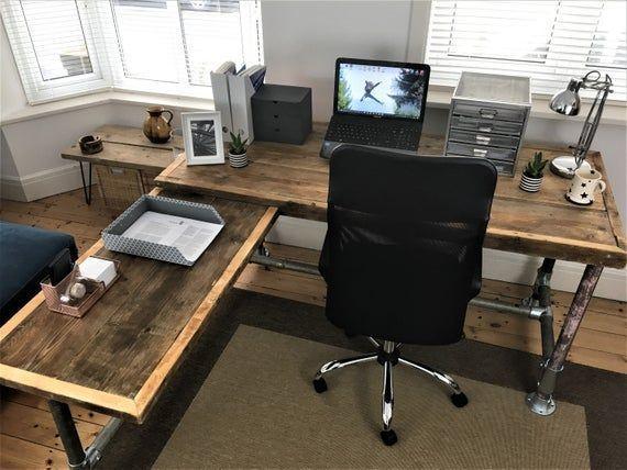 Corner Office Desk Custom Made From Reclaimed Scaffold Boards For