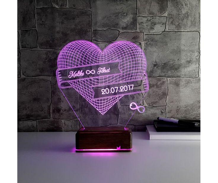 TahtaModa 3d 3 Boyutlu Dekoratif Led Masa Gece Lambası Kişiye Özel Kalp Sonsuzluk Kumandalı 16 Renk - rgbtht3d119