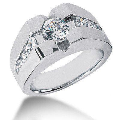 Platinum Men's Diamond Ring 1.72ct