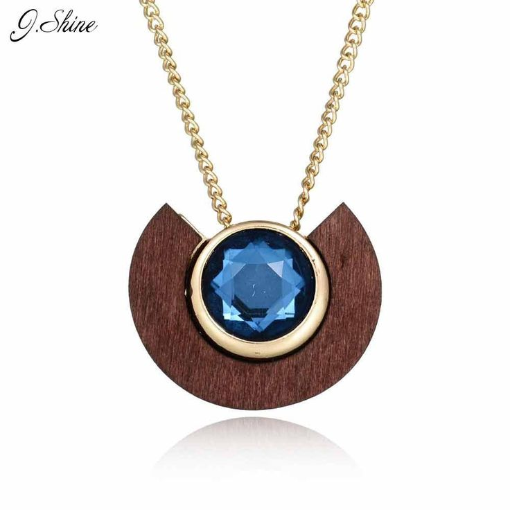 Wooden Jinse Blue Crystal Necklace