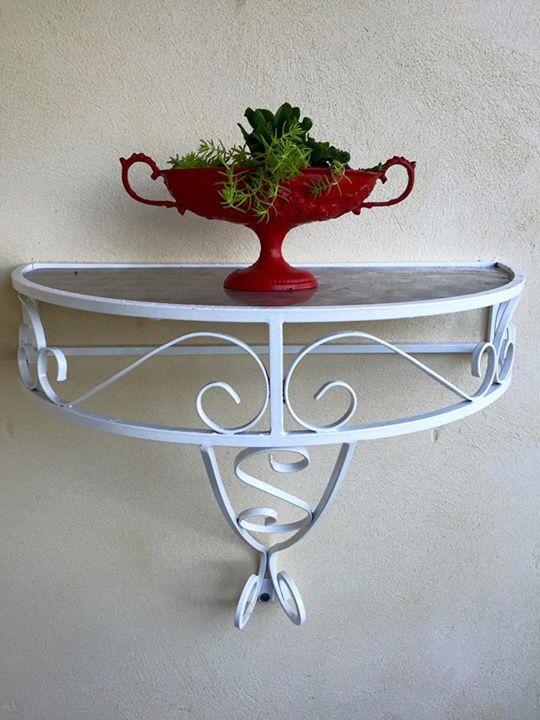 Restored wrought iron half table