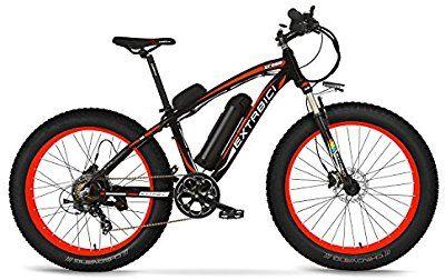 Cyrusher® Extrbici XF660 48V 500 vatios negro rojo Mens bicicleta eléctrica Mountain Bike 7 velocidades bicicleta eléctrica frenos de disco hidráulicos