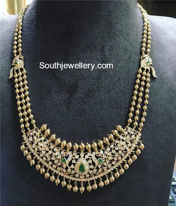 Gold Balls Mala with Peacock Diamond Pendant photo