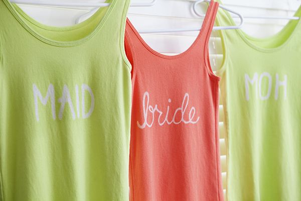 Bridal Party, Hen Do - DIY tops so not too much money is spent on expensive 'bride' wear that won't be worn again.