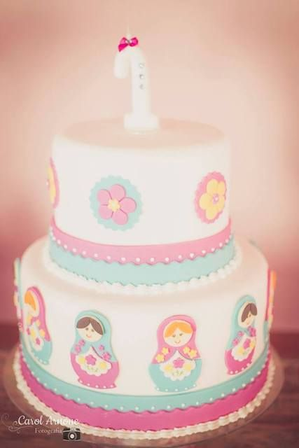 Adorable cake at a Matroyshka party!  See more party ideas at CatchMyParty.com!  #partyideas #girlbirthday