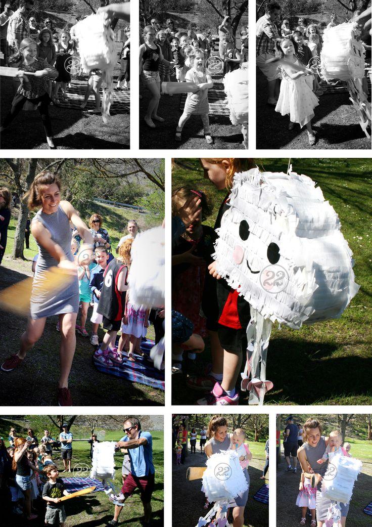 'Sky' themed piñata for a 1st birthday party