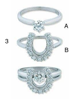 Very Unique Horseshoe Engagement And Wedding Ring Set