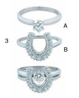 Very Unique Horseshoe Engagement And Wedding Ring Set