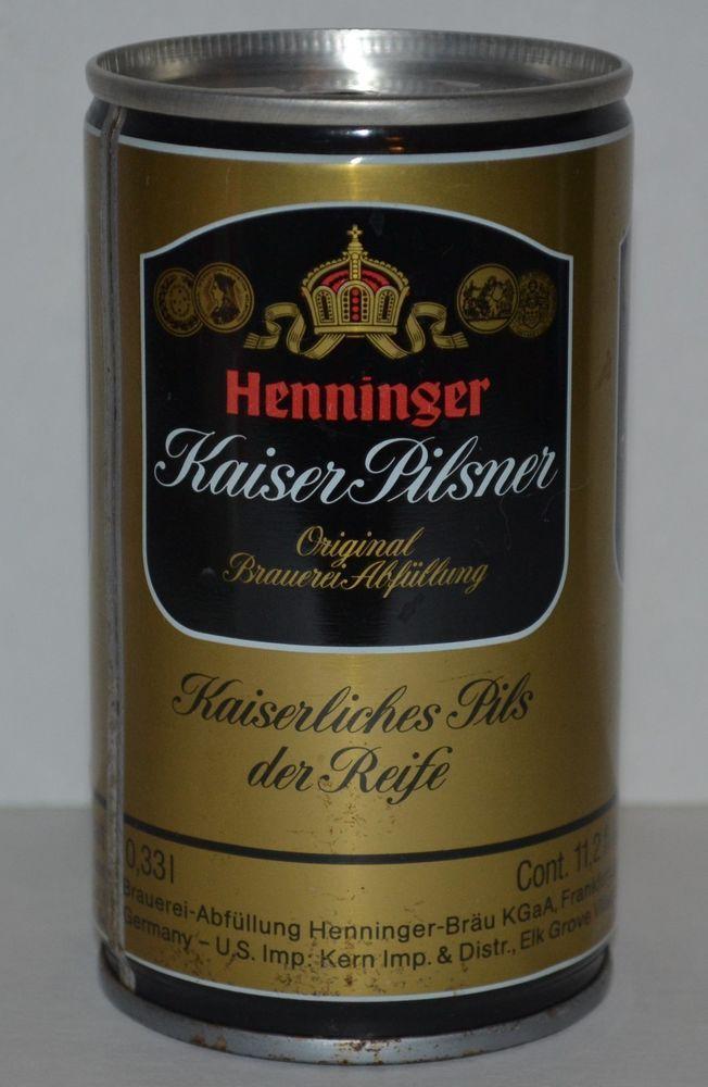 Henninger Kaiser Pilsner Vintage German Steel Pull Tab Beer Can 0.33L Frankfurt  #HenningerKaiserPilsner