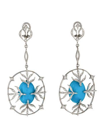 Cathy Waterman Diamond and Turquoise Earrings