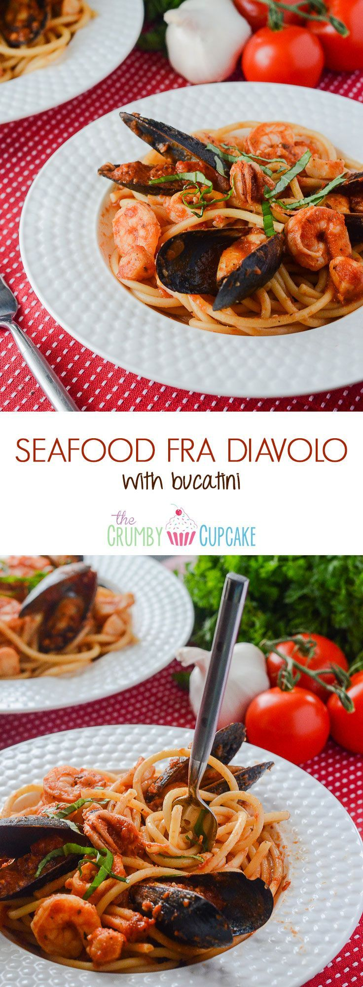 Seafood Fra Diavolo with Bucatini | Bucatini pasta, crowned with an array of fresh seafood that's bursting with spicy Italian flavor and lots of garlic - it's a spicy seafood spaghetti extravaganza!