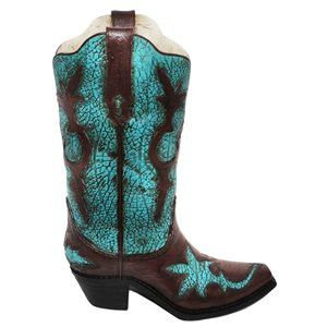 Distressed Turquoise Cowboy Boot