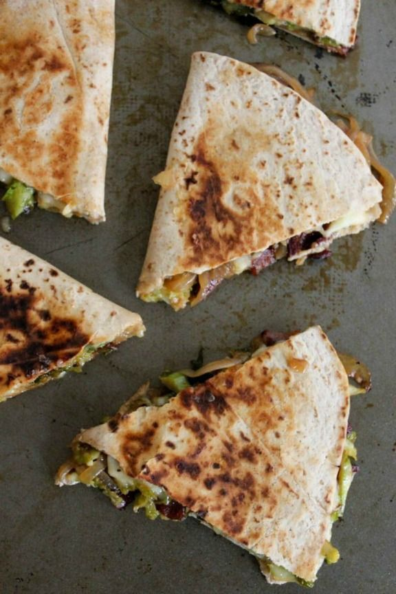 Brie Quesadillas with Brussels Sprouts, Bacon and Beer-Glazed Onions | domesticate-me.com