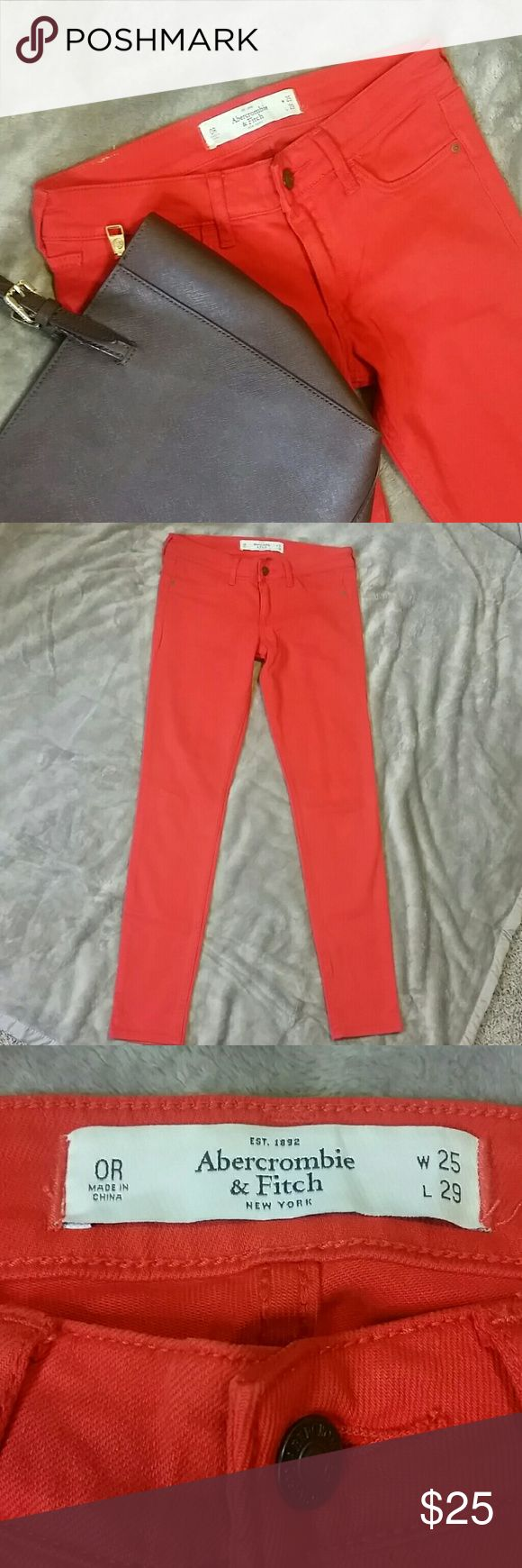"Abercrombie & Finch Orange Skinny Stretch Sz 0R Abercrombie & Finch orange skinny jeans  Sz 0R  W25 L29 Lower in the front, no front pockets, 2 back pockets. Leg Opening: 5"" Never worn Abercrombie & Fitch Jeans Skinny"