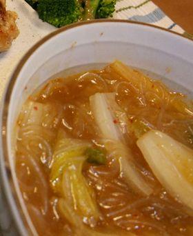 ハマる♪キムチの素de白菜春雨スープ