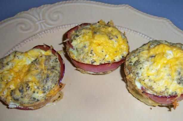 South Beach Diet Bacon Egg Muffins - quick and easy, I usually make enough for 1-2 weeks, refrigerate half and freeze half.  Then in the mornings just grab one, microwave for a minute, and go!