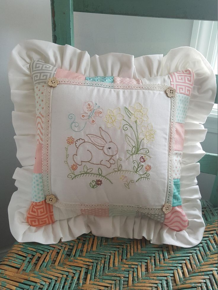 Excited to share the latest addition to my #etsy shop: Bunny Decorative Embroidered Throw Pillow Cover Fits 12x12 pillow form http://etsy.me/2ofnbt1 #housewares #homedecor #easter #pillow #pillowcover #quilted #throwpillow #pillowcoverruffles #bunnypillowcover