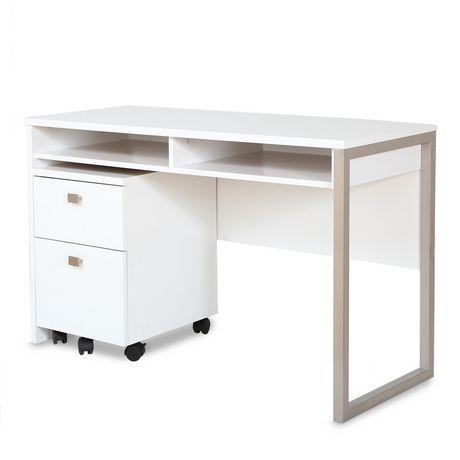 Ensemble 2 morceaux Bureau de travail et Classeur mobile 2 tiroirs, blanc solide, de la collection Interface de Meubles South Shore<br> au Walmart.ca.