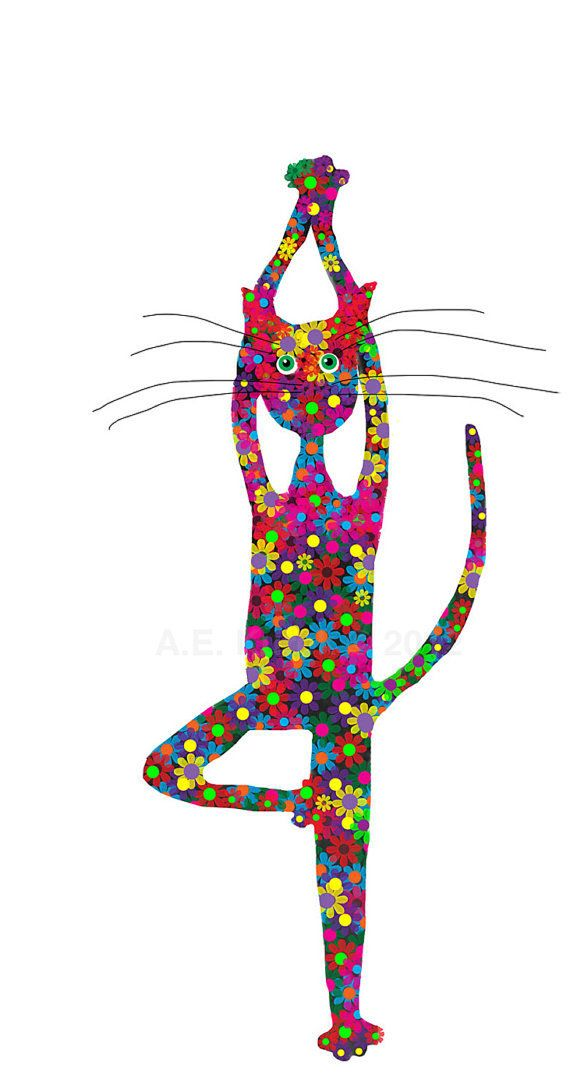 Art print of cat doing yoga. This flower covered cat is in tree pose. • digital art print adapted from one of my original paintings •