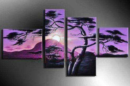 Hand-Painted Purple Landscape 4 Panel Painting