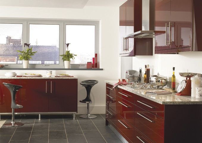 Haddington Burgundy kitchen- MDF painted high gloss.