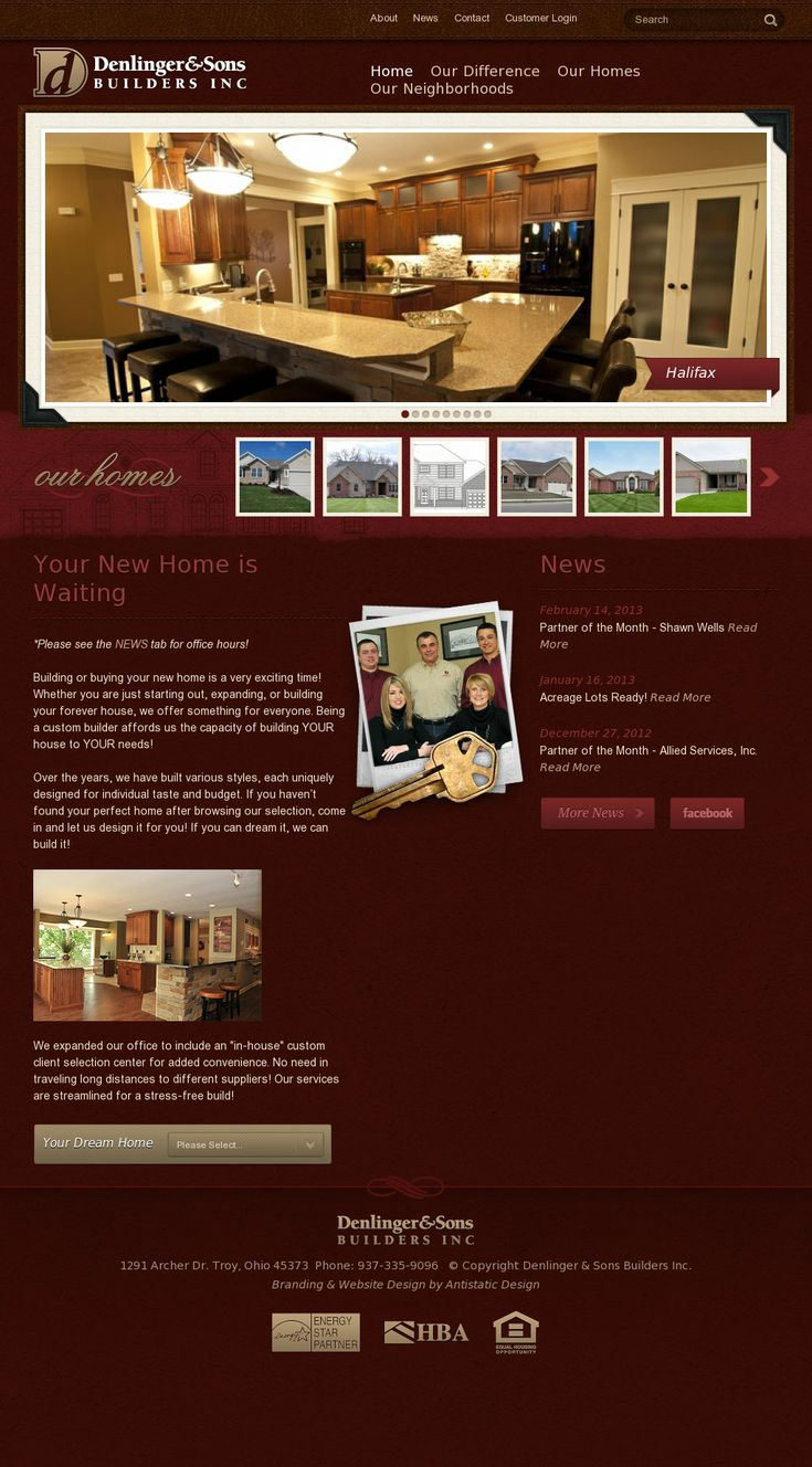 Denlinger & Sons Custom Home Builders | Website Design