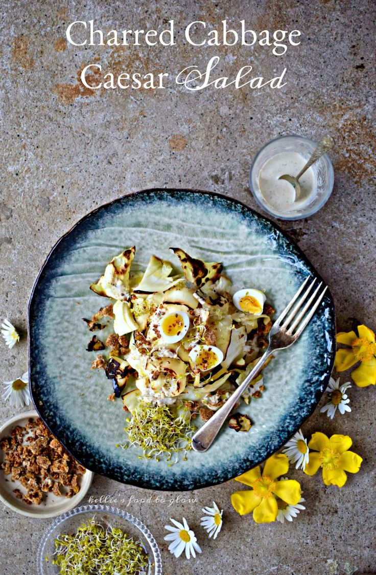 Charred Cabbage Caesar Salad with (nearly) Drinkable Low-fat Dressing