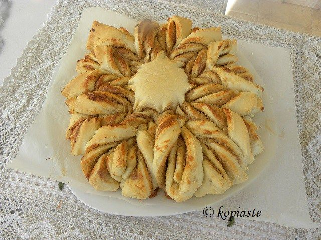 Tahini Bread or Tahinopsomo is a beautiful star shaped bread filled with tahini and honey based on the Cypriot recipe for Tahinopita.  However, this is much easier to make by just following the simple technique I used.  #tahini #bread