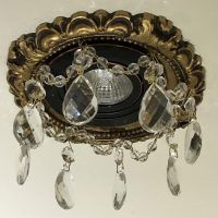 """3"""" Victorian recessed light with with 1-1/2"""" Clear Tear Drop Crystals in Umber Gold Finish"""