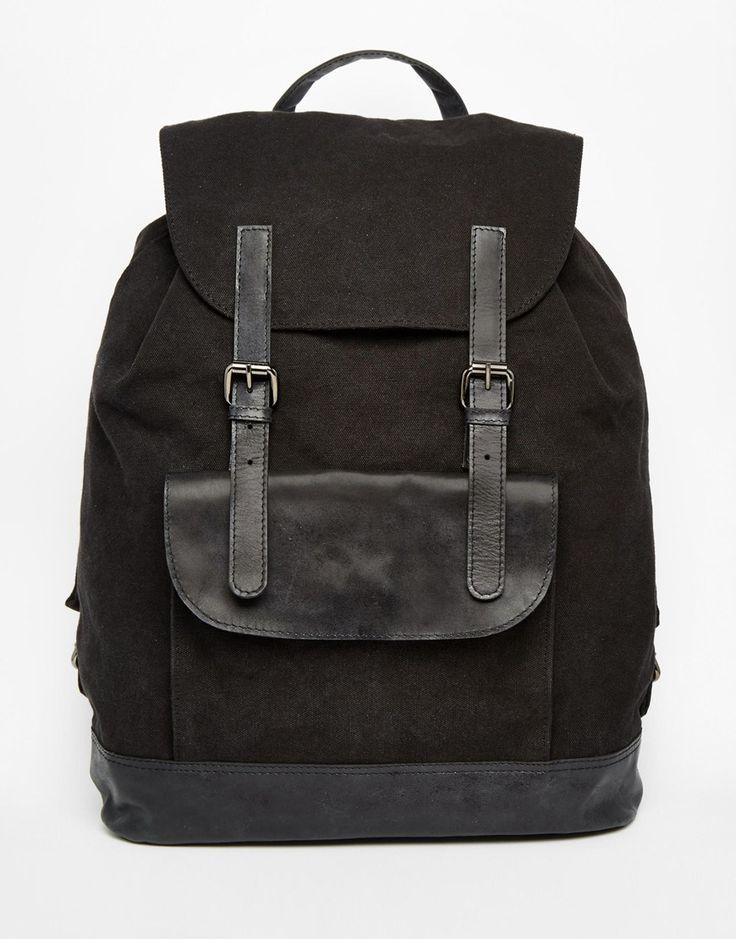 Image 1 - ASOS - Sac à dos en toile avec bords en cuir - Noir