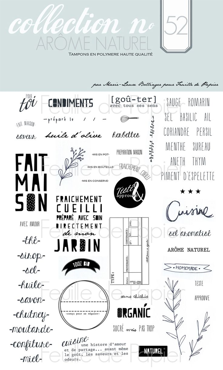MATERIEL > Tampons > Marie-Laure Bollinger pour Feuille de papier > Collections N° 52 Arôme Naturel - Feuille de papier - Kits en ligne