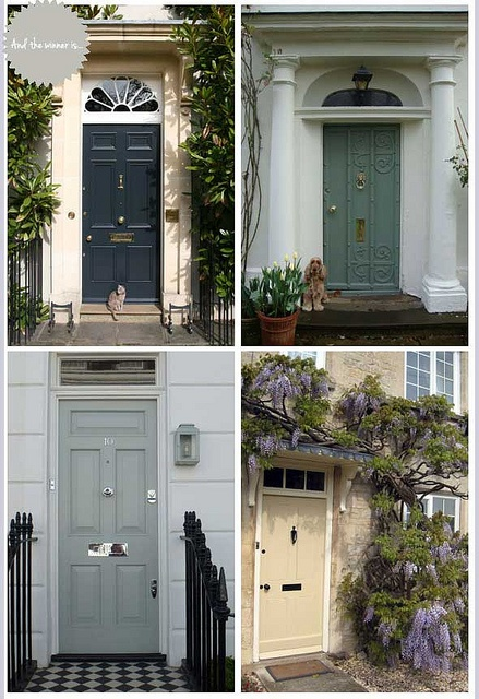 Farrow & Ball Great Outdoors Competition for Best Exterior Door. Clockwise from top left: Railings (# 31), Card Room Green (# 79), Cord (# 16), Light Blue (# 22). Photo Credits: Farrow & Ball Great Outdoors Finalists – British Classic (via Design Wotcha, 17 April 2012). See more doors and details at http://us.farrow-ball.com/the-great-outdoors/content/fcp-content