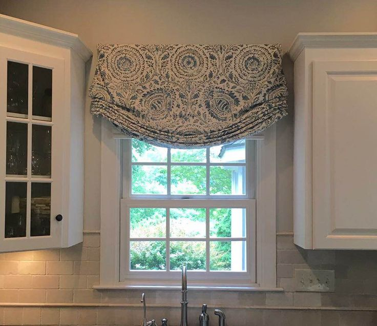 white cottage custom stationary (non-operbale) Relaxed roman shade in Mist on the Vine faric