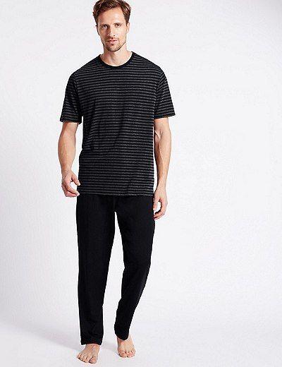 Cotton Rich Striped T-Shirt & Trouser Set | Marks & Spencer London