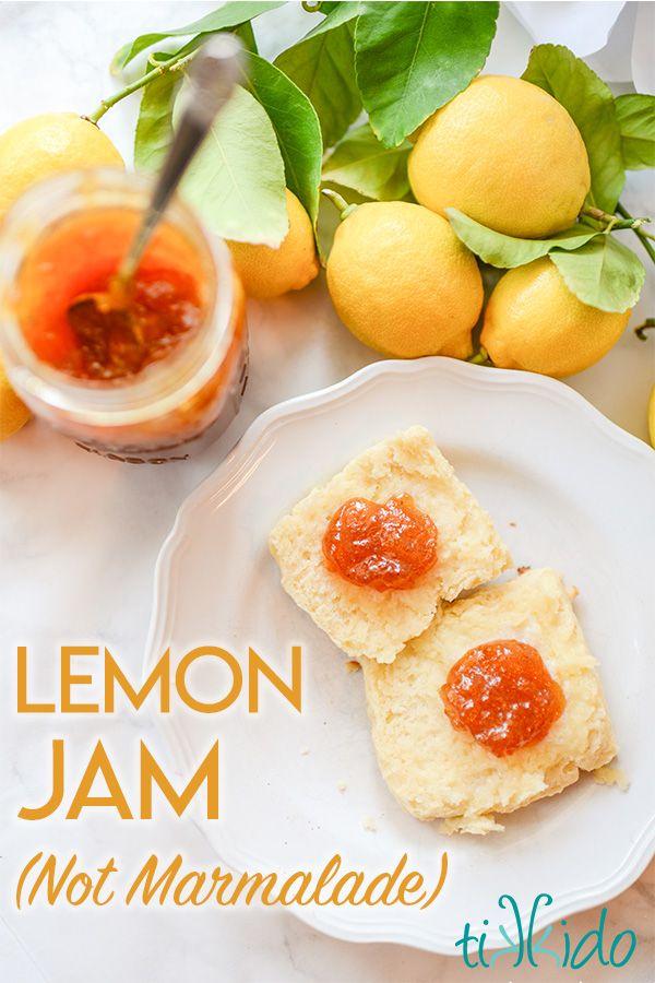 Homemade lemon jam (not marmalade, lemon jam!) recipe.  Lemon jam is made with t…