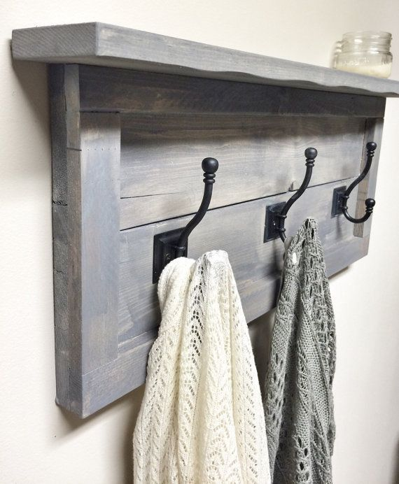 Rustic Wooden Entryway Grey Coat Rack Rustic by cherrytreegallery