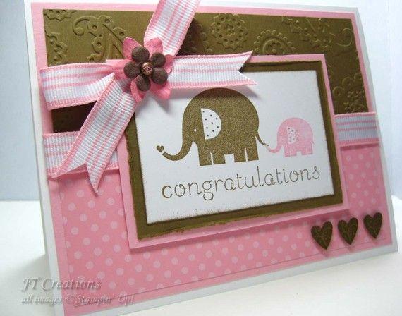 Girl baby elephant congratulations card