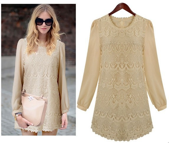 Elegant Lady's Long Sleeve Spring Dress with Fabulous Lace