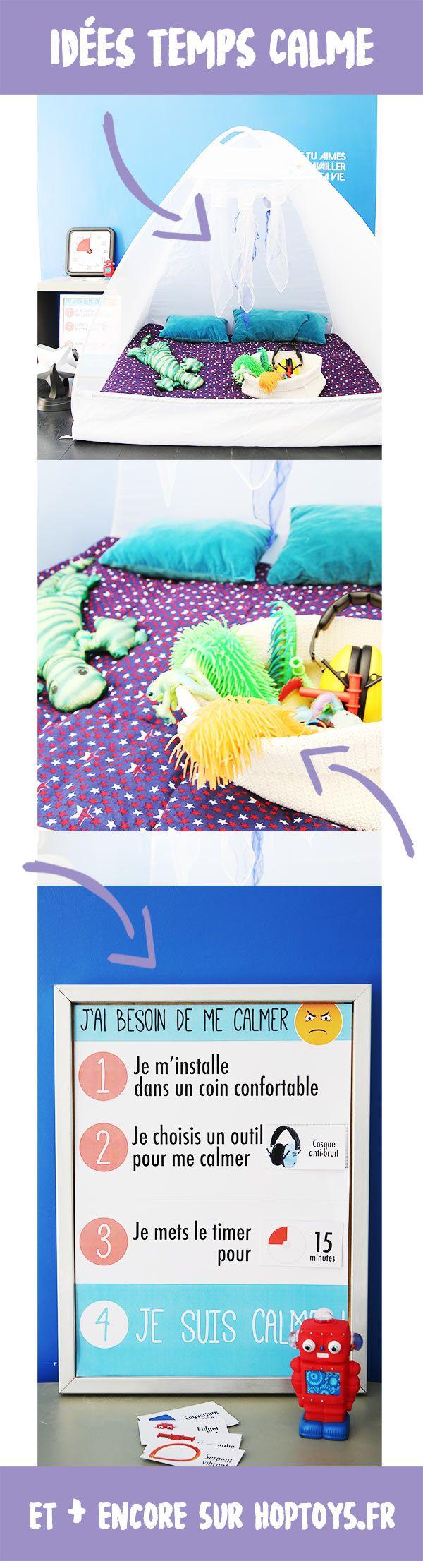 Temps calme : la cabane sensorielle  La cabane sensorielle est idéale pour créer un espace temps calme. Véritable bulle dédiée à la relaxation, elle permet à l'enfant de se mettre dans un cocon de bien-être. Elle permet de créer un espace refuge où l'enfant va pouvoir se ressourcer pour contrôler ses moments de colère.