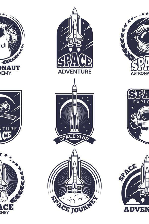 Download Monochrome Labels For Astronauts Vector Badges Templates Wi 813832 Illustrations Design Bundles Badge Template Monochrome Illustration Design