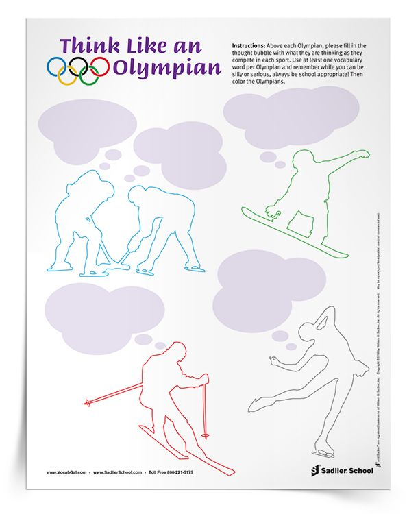This simple Olympic vocabulary activity will get students engaged in word learning while reflecting on the hard work of Olympic athletes. TheThink Like an Olympian Activity worksheet features five Olympains with thought bubbles. Above each Olympian, students will fill in the thought bubble with what the athletes are thinking as they compete in their sport. Students can be silly or serious, but they must use at least one vocabulary word per Olympian and all descriptions mush be appropriate…