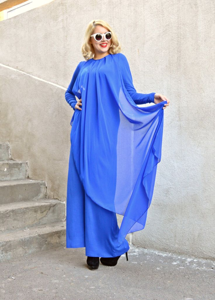 Blue Extravagant Jumpsuit / Funky Loose Jumpsuit / Plus Size Jumpsuit / Elegant Blue Jumpsuit TJ13 by Teyxo on Etsy https://www.etsy.com/listing/252798288/blue-extravagant-jumpsuit-funky-loose