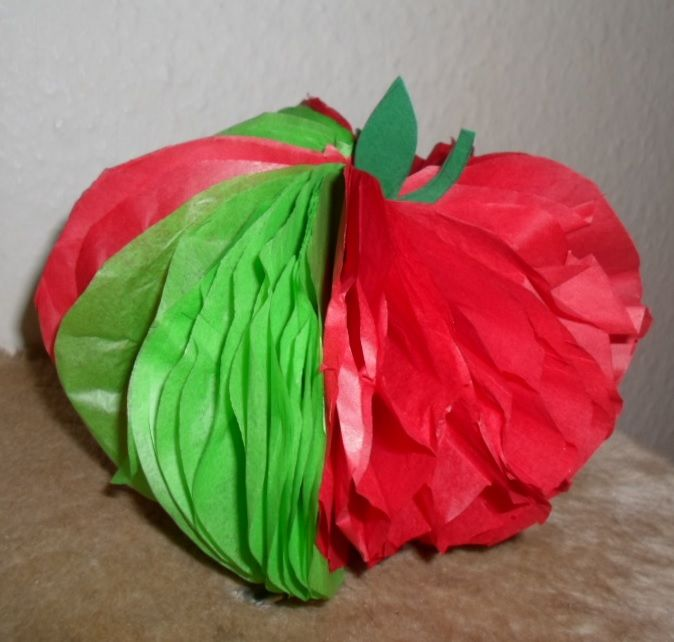 Apple made out of tissue paper.