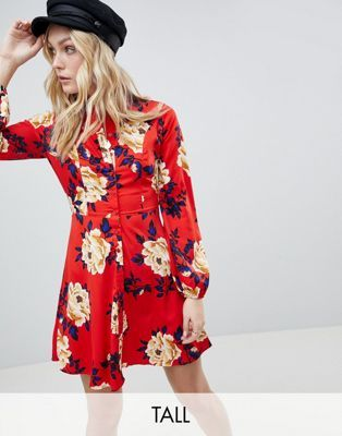 a9fcb5255b Influence Tall Frill Skater Shirt Dress In Floral Print | Fashion | Skater  shirts, Floral skater dress, Red floral dress