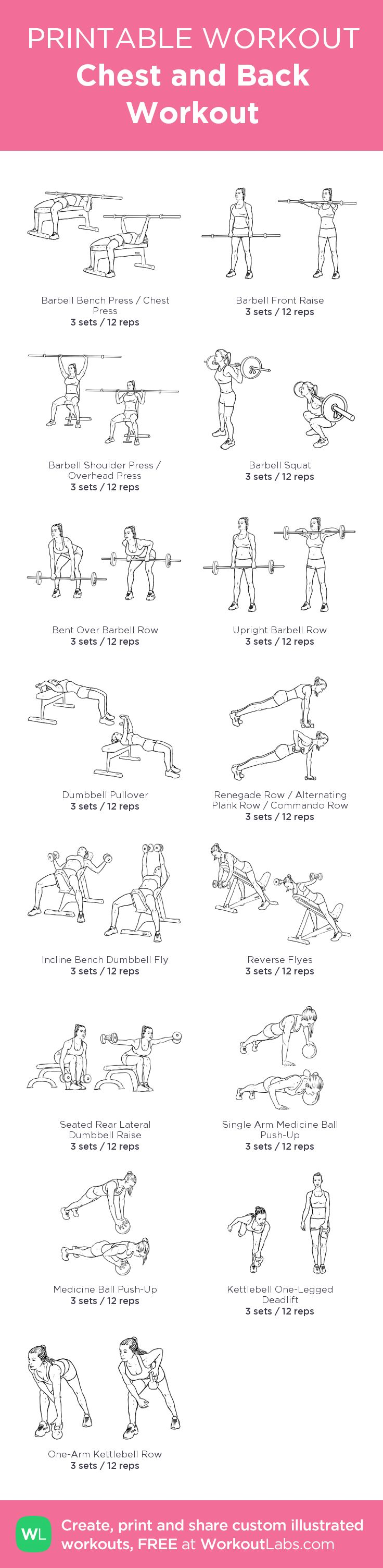 Chest and Back Workout: my visual workout created at WorkoutLabs.com • Click through to customize and download as a FREE PDF! #customworkout