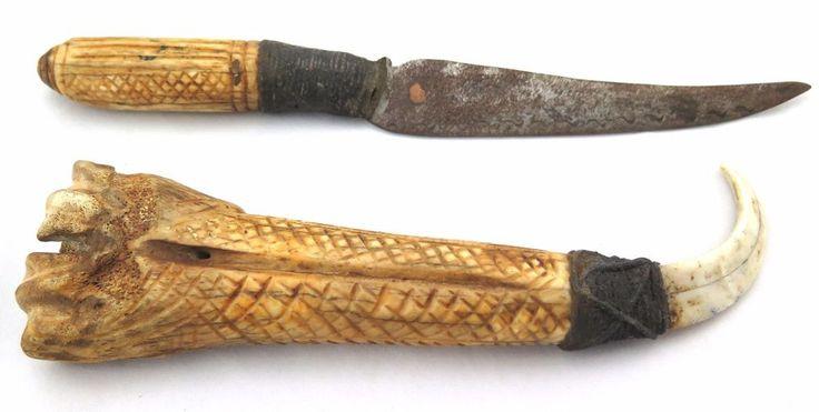 VINTAGE BURMESE HANDMADE KNIFE CARVED BONE HANDLE & SHEATH COLLECTIBLE GIFT RARE