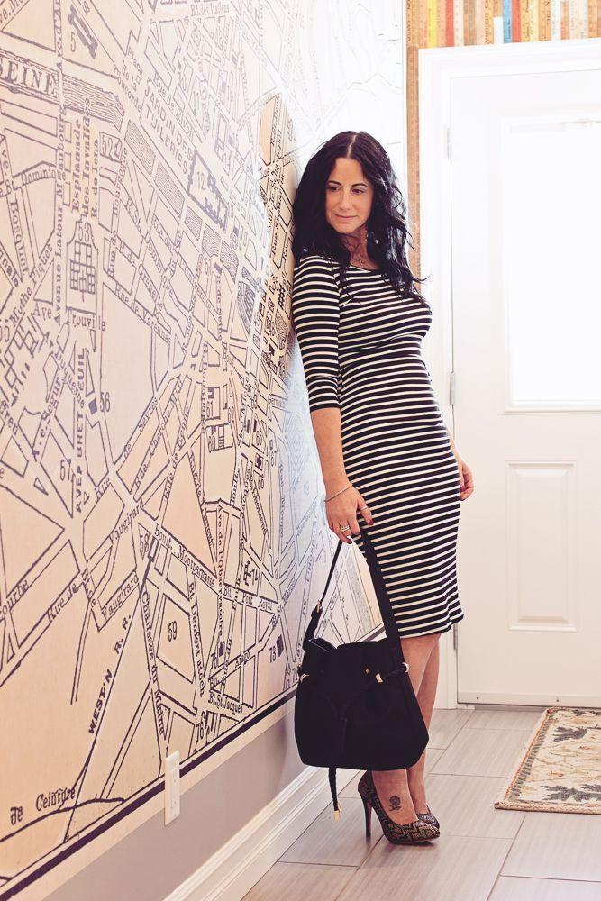 Image of Striped Mid-Length Dress - Black/White
