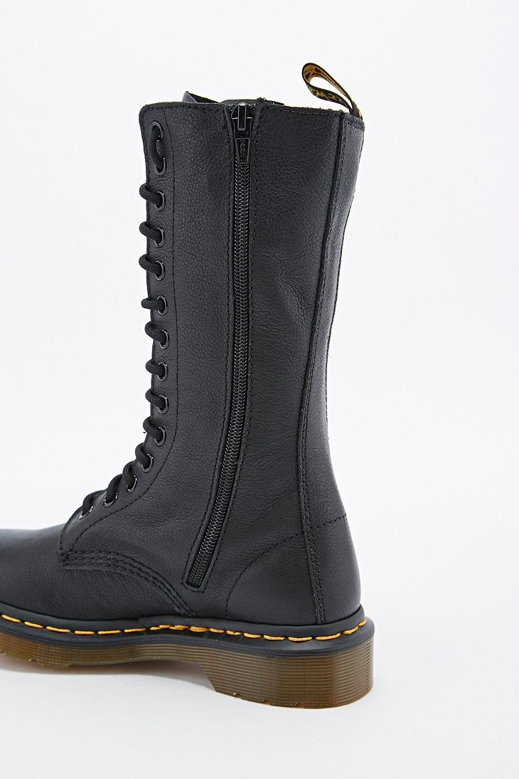 Dr. Martens Virginia Calf Height Boots in Black - Urban Outfitters