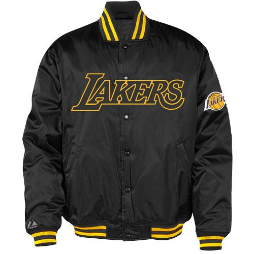 Los Angeles Lakers Jacket Black Gold Majestic NBA Quilt Lined Size XL NEW #Majestic #LosAngelesLakers