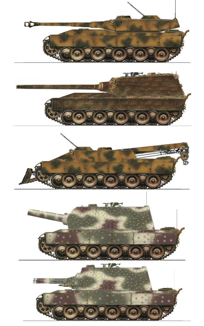 Vario alemán tardíos diseños de tanque pesados de guerra.-1. Tanque de Batalla Pesado 105mm Arma Principal 2. Destructor de tanques Pesado 128mm Arma Principal 3. Tanque de Recuperación 30mm Defensa aérea 4. Tanque de Sitio 305mm Mortero 5. Flametank Lanzallamas Pesado